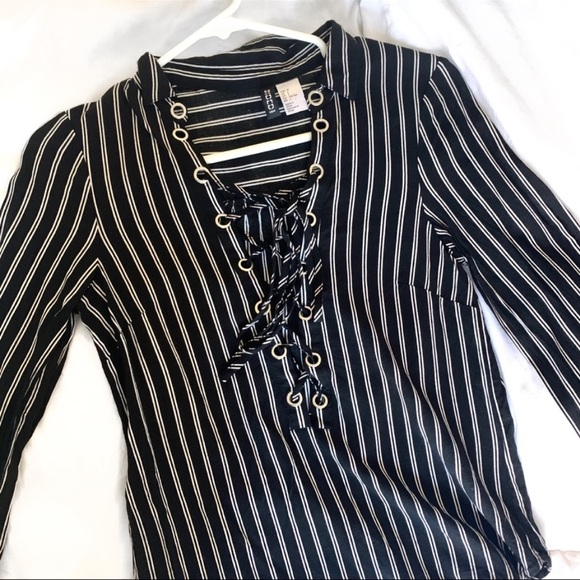 Divided Tops - Pinstripe Lace Up Blouse